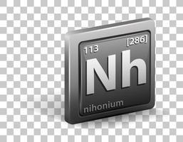 nihonium kemiskt grundämne. kemisk symbol med atomnummer och atommassa.