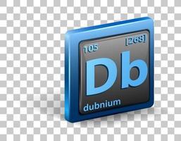 chemisches Element aus Dubnium. chemisches Symbol mit Ordnungszahl und Atommasse.