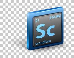skandium kemiskt element. kemisk symbol med atomnummer och atommassa.