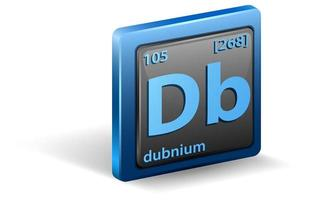 dubnium kemiskt element. kemisk symbol med atomnummer och atommassa.