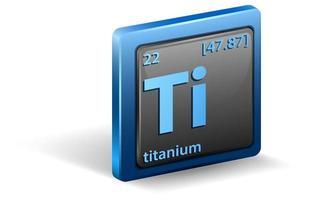 chemisches Titanelement. chemisches Symbol mit Ordnungszahl und Atommasse.