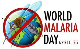 värld malariadag logotyp eller banner med mygga tecken vektor