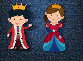 kleine König und Königin Zeichentrickfigur auf blauem Hintergrund vektor