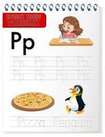alfabetet spårning kalkylblad med bokstaven p och p vektor