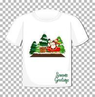 Weihnachtsmann, der im Schlittenkarikaturcharakter im Weihnachtsthema auf T-Shirt auf transparentem Hintergrund sitzt vektor