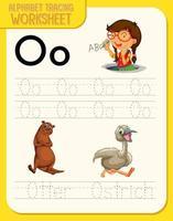 alfabetet spåra kalkylblad med bokstaven o och o