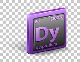 dysprosium kemiskt element. kemisk symbol med atomnummer och atommassa.