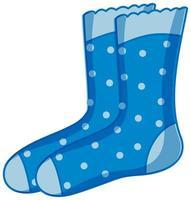 blaue Tupfenstrümpfe Karikaturart lokalisiert auf weißem Hintergrund vektor