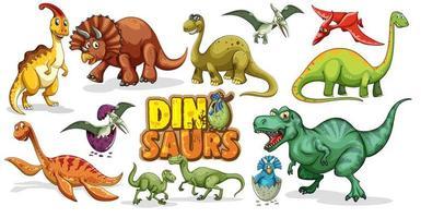 Satz Dinosaurier-Zeichentrickfigur lokalisiert auf weißem Hintergrund