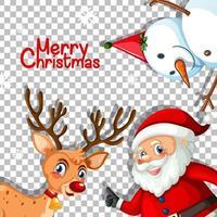 god jul teckensnitt med renar och jultomten på transparent bakgrund vektor