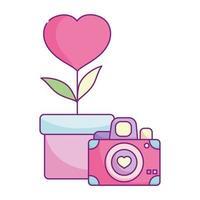 Glücklicher Valentinstag, Kamerablumenherz in der Topfliebe