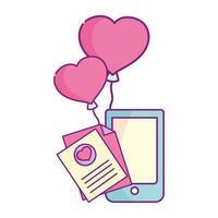 glad Alla hjärtans dag, smartphone meddelande brev ballonger hjärta kärlek