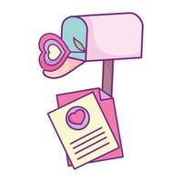 glücklicher Valentinstag, Briefkasten Briefkarte Blume Herz Liebe