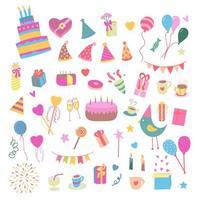 vektor illustration födelsedagsfest färgglada tillbehör och dekoration, sötsaker, kakor, ballonger, godis, presenter i platt tecknad stil.