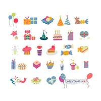 Retro Geburtstagsfeier Element Set