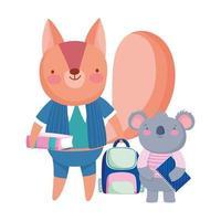 tillbaka till skolan, ekorre koala tavla ryggsäck och boka