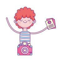 glad alla hjärtans dag, ung man med kuvertmeddelande och kamera
