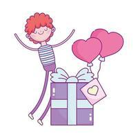 Glücklicher Valentinstag, Junge mit Geschenkbox und Luftballons geformte Herzen lieben Romantik