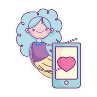 glücklicher Valentinstag, süßes Mädchen mit Smartphone Liebe romantisch