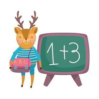 zurück in die Schule, Hirsch mit Kleiderrucksack Tafel Cartoon