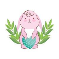 niedliches Kaninchen des glücklichen Osters mit gestreifter Herzliebesdekoration