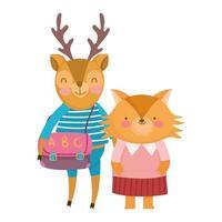 zurück in die Schule, Fuchs Hirsch mit Kleidung und Tasche Cartoon