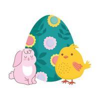 glückliches Oster niedliches Kaninchen und Huhn mit gemalter Eierdekoration mit Blumen