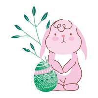 glad påsk liten kanin med dekorativa ägg natur lämnar