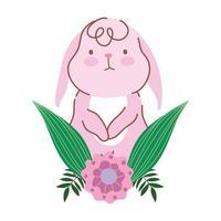 lycklig påskrosa kaninblomma lämnar firande