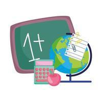 zurück in die Schule, Mathe Beispiel Tafel Globus Karte Rechner Apfel