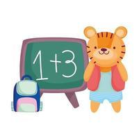 tillbaka till skolan, söt tiger med ryggsäck och tavlatecknad film