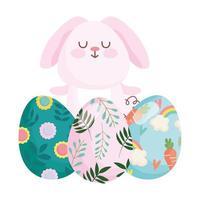 glad påsk söt kanin med målade ägg firande säsong