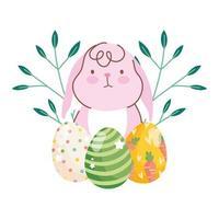 glückliche Osterniedliche Kanincheneierzweige Laubnaturfeier