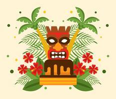 Polynesischer Geburtstag mit Tiki-Vektor