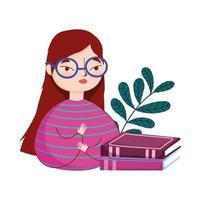 junge Frau, die Brille und gestapelte Bücherzweignatur trägt, Buchtag