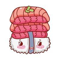 kawaii Sushi mit Haufen Fisch Essen japanischen Cartoon, Sushi und Brötchen