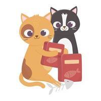 Katzen machen mich glücklich, süße Katzen mit Futterboxen und Fischgräten