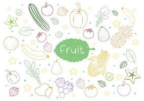 Satz verschiedene Fruchtkritzeleien lokalisiert auf weißem Hintergrund vektor