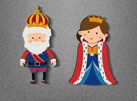 König und Königin Zeichentrickfigur auf grauem Hintergrund vektor