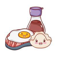 kawaii Spiegelei-Keks und Sake-Food japanischer Cartoon, Sushi und Brötchen