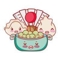 kawaii dumplings ärtor i skål och fläktmat j japansk tecknad film, sushi och rullar