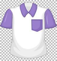 tom vit skjorta med lila korta ärmar och ficka på transparent