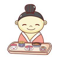 Geisha mit Tablett Sushi Suppe Reis Essen japanischen Cartoon, Sushi und Brötchen