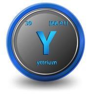 yttrium kemiskt element. kemisk symbol med atomnummer och atommassa.
