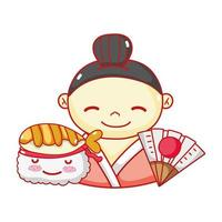 Geisha Suhsi Kawaii Essen japanische Fan Cartoon, Sushi und Brötchen vektor