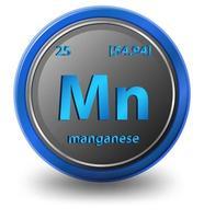 chemisches Manganelement. chemisches Symbol mit Ordnungszahl und Atommasse.