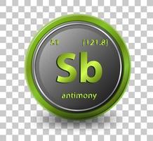 antimonychemisches Element. chemisches Symbol mit Ordnungszahl und Atommasse.