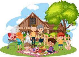 lycklig familjens picknick i trädgården vektor