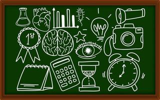 olika klotterstreck om skolutrustning på svarta tavlan