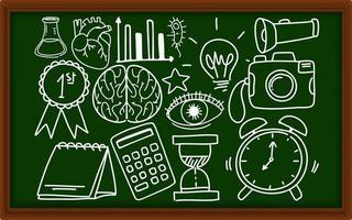 verschiedene Doodle-Striche über Schulausrüstung an der Tafel